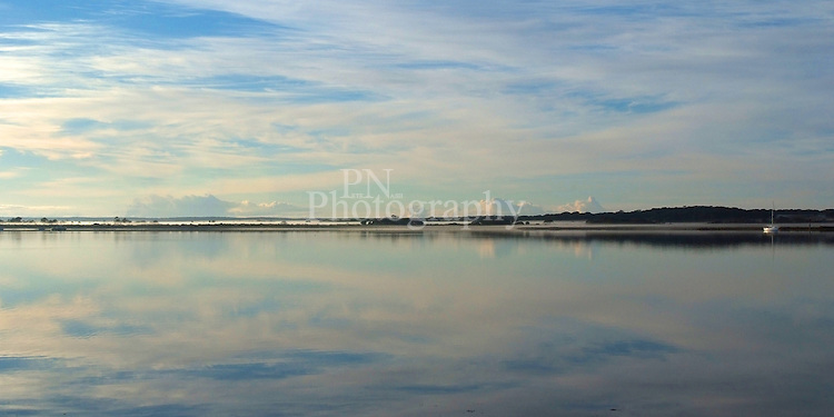 A perfect morning on kangaroo island at american river with amazing reflections