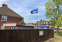 High Wycombe, UK. 16th April, 2020.<br /> A flag displaying Thank You NHS flies outside a home during the Covid-19 Pandemic as the UK Government advice to maintain social distancing and minimise time outside in High Wycombe on 16 April 2020. Photo by PRiME Media Images