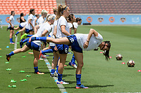 Houston, TX - Saturday May 27, 2017: Seattle Reign FC warming up during a regular season National Women's Soccer League (NWSL) match between the Houston Dash and the Seattle Reign FC at BBVA Compass Stadium.