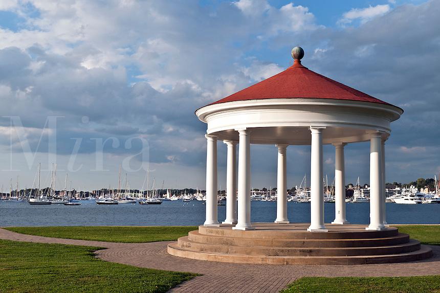 Pavilion overlooking harbor, Newport, RI, Rhode island, USA