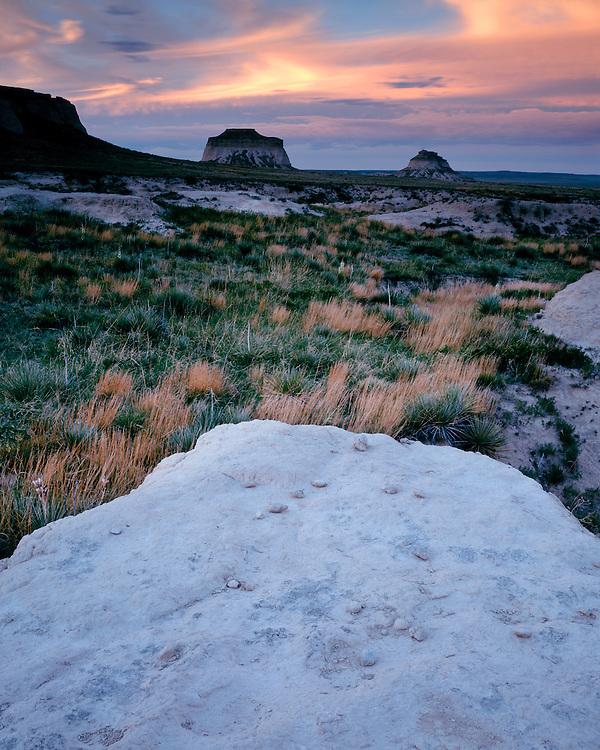 Sunset light on the Pawnee Buttes; Pawnee National Grassland, CO