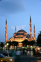 Blue Mosque strung with wording to commemorate the conquest of Constantinople by the Ottoman Turks, Istanbul, Turkey