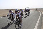 Bridgestone Anchor team warms up before the 2nd Stage of the 2012 Tour of Qatar an 11.3km team time trial at Lusail Circuit, Doha, Qatar. 6th February 2012.<br /> (Photo Eoin Clarke/Newsfile)