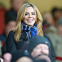 TOWIE STAR MARIA FOWLER TAKES HER SEAT IN THE STAND AT FIR PARK, MOTHERWELL, TO WATCH HER BOYFRIEND, ST JOHNSTONE'S, LEE CROFT PLAY AGAINST MOTHERWELL