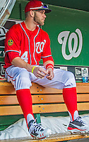 22 September 2013: Washington Nationals outfielder Bryce Harper sits in the dugout prior to a game against the Miami Marlins at Nationals Park in Washington, DC. The Marlins defeated the Nationals 4-2 in the first game of their day/night double-header. Mandatory Credit: Ed Wolfstein Photo *** RAW (NEF) Image File Available ***