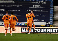 21st November 2020; The Den, Bermondsey, London, England; English Championship Football, Millwall Football Club versus Cardiff City; Kieffer Moore of Cardiff City celebrates with Harry Wilson of Cardiff City after scoring his sides 1st goal in the 79th minute to make it 1-1
