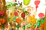 Education preschoool children ages 3-5 painting by child featuring flowers horizontal