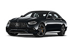 Stock pictures of low aggressive front three quarter view of 2021 Mercedes Benz E-Class 63-S-AMG 4 Door Sedan Low Aggressive