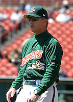 April 21, 2005:  Manager Marty Brown of the Buffalo Bisons during a game at Dunn Tire Park in Buffalo, NY.  Buffalo is the International League Triple-A affiliate of the Cleveland Indians.  Photo by:  Mike Janes/Four Seam Images