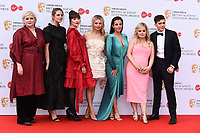 Derry Girls cast (Siobhan McSweeney, Louisa Harland, Kathy Kiera Clarke, Saoirse-Monica Jackson, Jamie-Lee O'Donnell, Nicola Coughlan and Dylan Llewellyn)<br /> arriving for the BAFTA TV Awards 2019 at the Royal Festival Hall, London<br /> <br /> ©Ash Knotek  D3501  12/05/2019