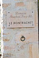"""Vineyard. Domaine Bouchard Pere et Fils. """"Le Montrachet"""" Grand Cru, Puligny Montrachet, Cote de Beaune, d'Or, Burgundy, France"""