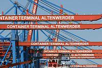 Auslaeger der Containerbruecken mit der Aufschrift Containerterminal Altenwerder: EUROPA, DEUTSCHLAND, HAMBURG, (EUROPE, GERMANY), 27.03.2013: Der HHLA Container Terminal Altenwerder (CTA) mit dem 1.400 Meter langen Ballinkai im Stadtteil Altenwerder von Hamburg ist derzeit einer der weltweit modernsten Containerterminals. Er gehoert der Hamburger Hafen und Logistik AG (HHLA) (74,9 %) und der Hapag-Lloyd AG (25,1 %) und befindet sich am Koehlbrand, einem Seitenarm der Elbe, zwischen Kattwyk-Bruecke und Koehlbrandbruecke. Der CTA ist neben dem Eurogate-Containerterminal Hamburg, dem HHLA Containerterminal Buchardkai und dem HHLA Containerterminal Tollerort einer von derzeit vier Containerterminals in Hamburg. Der Betrieb auf der CTA lauft teilautomatisiert.