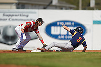Batavia Muckdogs second baseman Taylor Munden (21) tags Michael Pritchard (5) sliding in during a game against the State College Spikes August 23, 2015 at Dwyer Stadium in Batavia, New York.  State College defeated Batavia 8-2.  (Mike Janes/Four Seam Images)