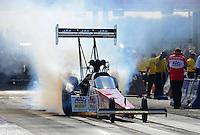 Sept. 21, 2012; Ennis, TX, USA: NHRA top fuel dragster driver Doug Kalitta during qualifying for the Fall Nationals at the Texas Motorplex. Mandatory Credit: Mark J. Rebilas-