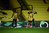 4th November 2020; Vicarage Road, Watford, Hertfordshire, England; English Football League Championship Football, Watford versus Stoke City; João Pedro celebrates scoring the penalty for Watford for 2-1 in the 61st minute