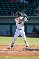 Mesa Solar Sox right fielder Skye Bolt (10), of the Oakland Athletics organization, at bat during an Arizona Fall League game against the Peoria Javelinas at Sloan Park on October 24, 2018 in Mesa, Arizona. Mesa defeated Peoria 4-3. (Zachary Lucy/Four Seam Images)