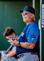18 July 2018: Trenton Thunder Manager Jay Bell in the dugout during a game against the New Hampshire Fisher Cats at Northeast Delta Dental Stadium in Manchester, NH. The Fisher Cats defeated the Thunder 3-2 in a 7-inning, second game of the day. Mandatory Credit: Ed Wolfstein Photo *** RAW (NEF) Image File Available ***