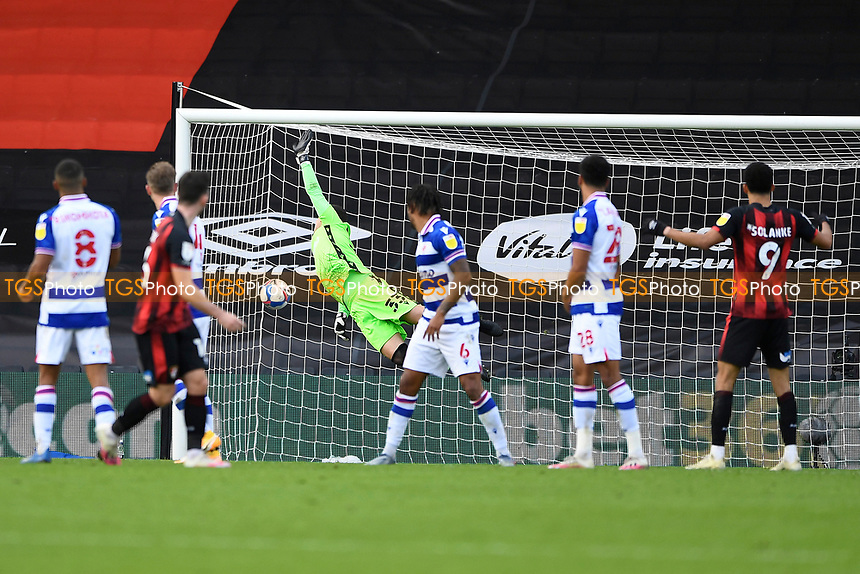 Rafael of Reading fails to keep out the effort from Lewis Cook of AFC Bournemouth (left)  during AFC Bournemouth vs Reading, Sky Bet EFL Championship Football at the Vitality Stadium on 21st November 2020
