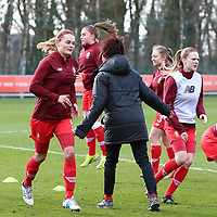 Assistant coach Anne Radermacher of Standard is finishing the warm up of the Standard players before a female soccer game between Standard Femina de Liege and Sporting Charleroi on the 16th matchday of the 2020 - 2021 season of Belgian Scooore Womens Super League , saturday 13 th of February 2021  in Angleur , Belgium . PHOTO SPORTPIX.BE | SPP | SEVIL OKTEM