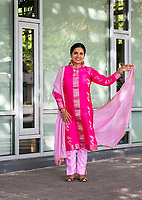 Indian Woman Wearing Red & Pink Traditional Clothing, Renton Multicultural Festival 2017, WA, USA.