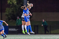 Boston, MA - Saturday September 30, 2017: Nikki Stanton and Morgan Andrews during a regular season National Women's Soccer League (NWSL) match between the Boston Breakers and Sky Blue FC at Jordan Field.