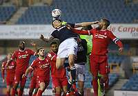 Murray Wallace of Millwall header pounced clear by Brice Samba of Nottingham Forest during Millwall vs Nottingham Forest, Sky Bet EFL Championship Football at The Den on 19th December 2020