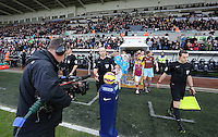 Pictured: Players exit the tunnel Saturday 10 January 2015<br /> Re: Barclays Premier League, Swansea City FC v West Ham United at the Liberty Stadium, south Wales, UK
