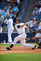 New York Yankees left fielder Lane Adams (98) at bat during a Spring Training game against the Detroit Tigers on March 2, 2016 at George M. Steinbrenner Field in Tampa, Florida.  New York defeated Detroit 10-9.  (Mike Janes/Four Seam Images)