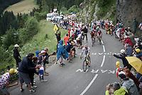 Rafal Majka (POL/Tinkoff) is the first one up the Montée de Bisanne (HC/1723m/12.4km/8.2%)<br /> <br /> Stage 19:  Albertville › Saint-Gervais /Mont Blanc (146km)<br /> 103rd Tour de France 2016