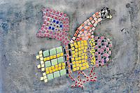 Mosaic chichen design on bench in Tubac. Arizona