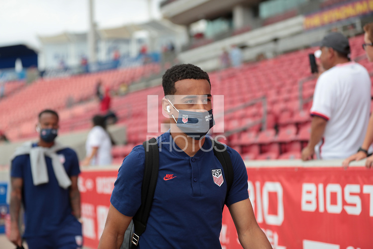 SANDY, UT - JUNE 10: Tyler Adams #4 of the United States before a game between Costa Rica and USMNT at Rio Tinto Stadium on June 10, 2021 in Sandy, Utah.