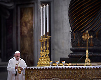 Pope Francis  the episcopal ordination mass in Saint Peter¿s Basilica at the Vatican on April 22, 2018.