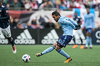 Foxborough, Massachusetts - March 24, 2018:  The New England Revolution (blue) tied New York City FC (light blue) 2-2 in a Major League Soccer (MLS) match at Gillette Stadium.