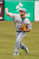 Beloit Snappers pitcher Armando Ruiz (19) warms up prior to a Midwest League game against the Wisconsin Timber Rattlers on April 10th, 2016 at Fox Cities Stadium in Appleton, Wisconsin.  Wisconsin defeated Beloit  4-2. (Brad Krause/Four Seam Images)
