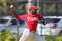 Philadelphia Phillies Perci Garner during a minor league spring training game against the New York Yankees at the Carpenter Complex on March 22, 2012 in Clearwater, Florida.  (Mike Janes/Four Seam Images)