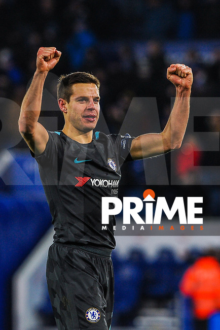 Chelsea's Cesar Azpilicueta celebrates the win with the Chelsea fans during the FA Cup QF match between Leicester City and Chelsea at the King Power Stadium, Leicester, England on 18 March 2018. Photo by Stephen Buckley / PRiME Media Images.