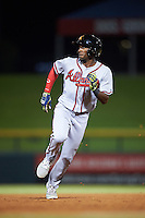 Salt River Rafters Travis Demeritte (11), of the Atlanta Braves organization, during a game against the Mesa Solar Sox on October 22, 2016 at Sloan Park in Mesa, Arizona.  Salt River defeated Mesa 7-2.  (Mike Janes/Four Seam Images)