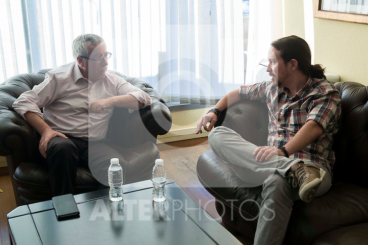 General Secretary of Podemos, Pablo Iglesias during the meeting with General Secretary of CCOO , Ignacio Fernandez Toxo in Madrid. November 16, Spain. 2016. (ALTERPHOTOS/BorjaB.Hojas)