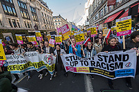 Tens of thousands attend the N17 demonstration against racism & fascism called by Trade unions and organised by Stand Up To Racism. 17-11-18