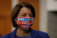 United States Senator Amy Klobuchar (Democrat of Minnesota), wears a face mask as she arrives for a US Senate Judiciary Committee business meeting on Capitol Hill in Washington, Thursday, June 11, 2020. <br /> Credit: Carolyn Kaster / Pool via CNP/AdMedia