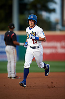 Rancho Cucamonga Quakes designated hitter Rylan Bannon (25) rounds the bases during a California League game against the Lake Elsinore Storm at LoanMart Field on May 18, 2018 in Rancho Cucamonga, California. Lake Elsinore defeated Rancho Cucamonga 5-4. (Zachary Lucy/Four Seam Images)