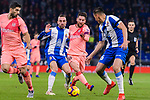 Lionel Messi of FC Barcelona (C) in action against Sergi Darder of RCD Espanyol (L) during the La Liga 2018-19 match between RDC Espanyol and FC Barcelona at Camp Nou on 08 December 2018 in Barcelona, Spain. Photo by Vicens Gimenez / Power Sport Images