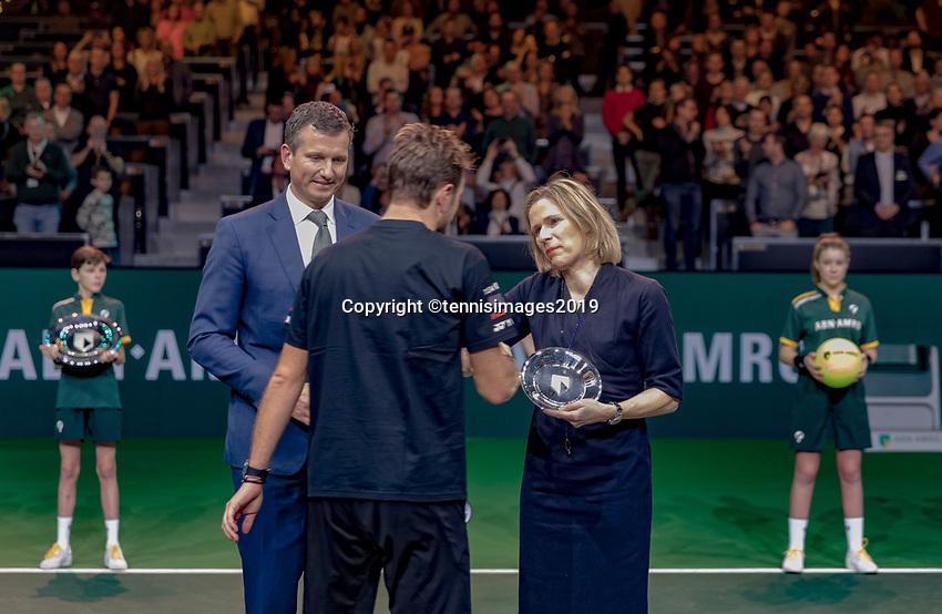 Rotterdam, The Netherlands, 17 Februari 2019, ABNAMRO World Tennis Tournament, Ahoy, Final, award ceremony, runner up Stan Wawrinka (SUI) receives his trophy<br /> Photo: www.tennisimages.com/Henk Koster