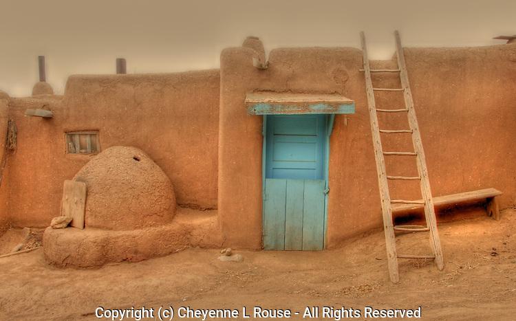 Turquoise Door at Taos Pueblo - New Mexico
