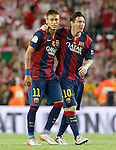 FC Barcelona's Neymar Santos Jr and Leo Messi celebrate the victory in the Spanish King's Cup Final match. May 30,2015. (ALTERPHOTOS/Acero)
