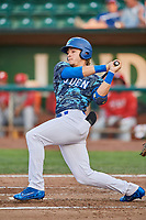 Niko Hulsizer (12) of the Ogden Raptors bats against the Orem Owlz at Lindquist Field on August 3, 2018 in Ogden, Utah. The Raptors defeated the Owlz 9-4. (Stephen Smith/Four Seam Images)