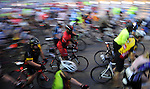 The first wave of cyclists starts at the annual Tour de Houston bike ride downtown Sunday  March 16, 2014.(Dave Rossman photo)