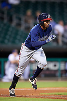 Mississippi Braves designated hitter Carlos Franco (13) runs to first base during a game against the Montgomery Biscuits on April 24, 2017 at Montgomery Riverwalk Stadium in Montgomery, Alabama.  Montgomery defeated Mississippi 3-2.  (Mike Janes/Four Seam Images)