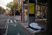 April 21, 2020<br /> New York, New York<br /> <br /> Homeless on the streets in lower east side Manhattan just after sunrise during the height of the coronavirus pandemic.