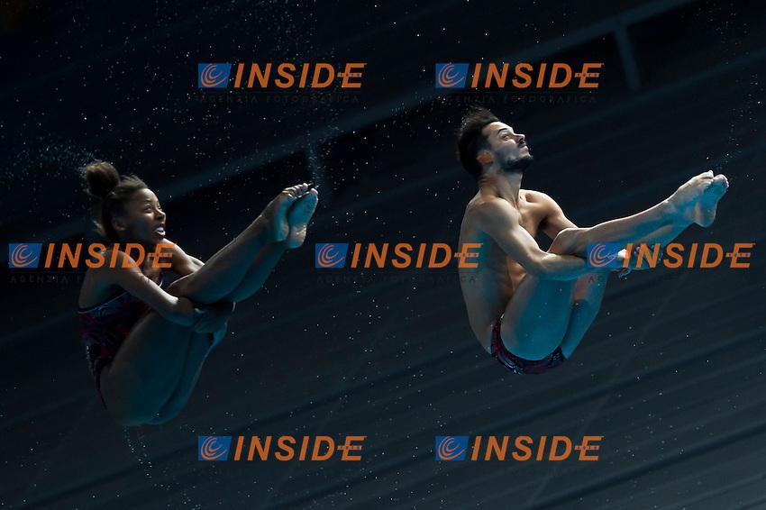 ABEL Jennifer and IMBEAU-DULAC Francois CAN silver medal<br /> Diving - Mixed 3m Synchro springboard final<br /> Day 10 02/08/2015<br /> XVI FINA World Championships Aquatics Swimming<br /> Kazan Tatarstan RUS July 24 - Aug. 9 2015 <br /> Photo Giorgio Perottino/Deepbluemedia/Insidefoto